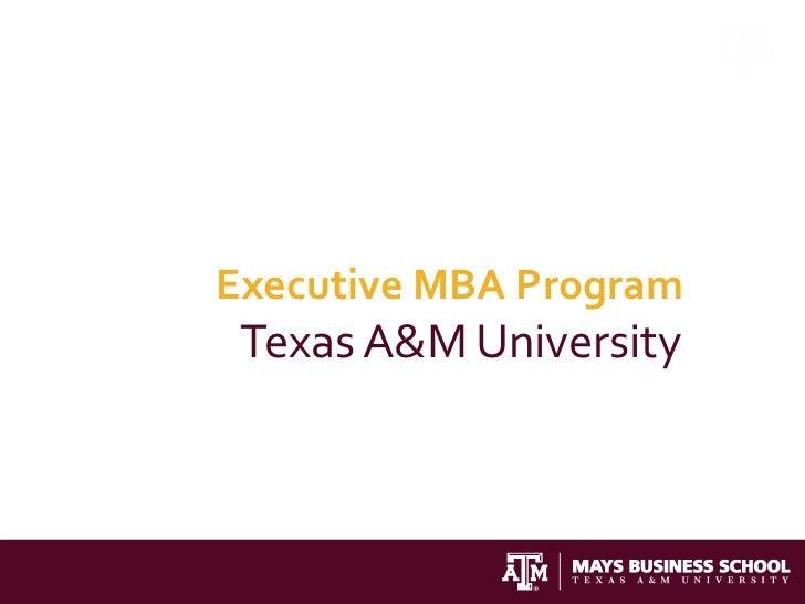 Executive MBA Program Texas A&M University