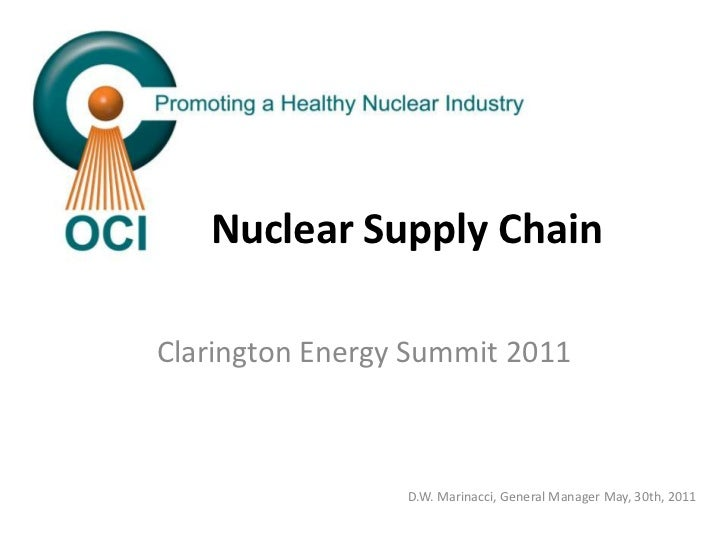Nuclear Supply Chain<br />Clarington Energy Summit 2011<br />D.W. Marinacci, General Manager May, 30th, 2011<br />