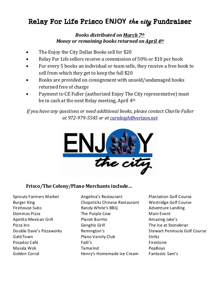 Relay For Life Frisco             ENJOY the city Fundraiser                            BooksdistributedonMarch7th    ...