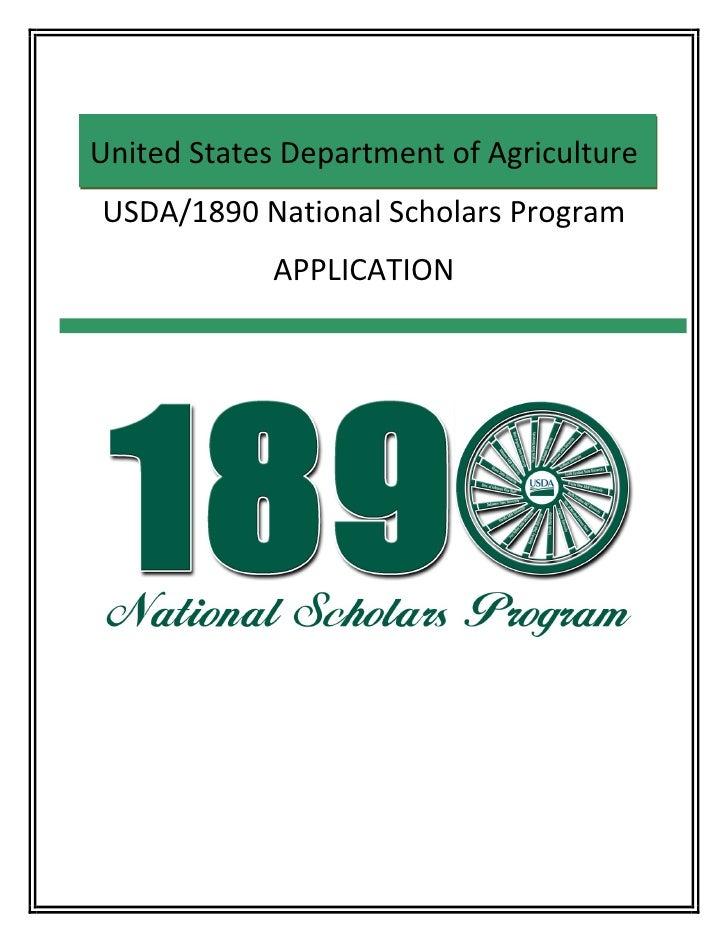 2011 fillable usda 1890 national scholars high school application