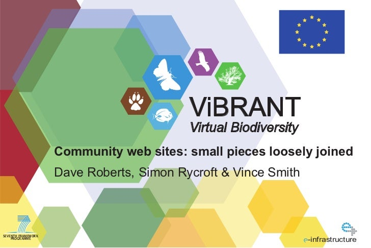 ViBRANT                                          Virtual Biodiversity                    Community web sites: small pieces...