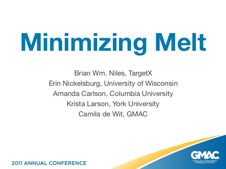 Minimizing Melt          Brian Wm. Niles, TargetX  Erin Nickelsburg, University of Wisconsin   Amanda Carlson, Columbia Un...