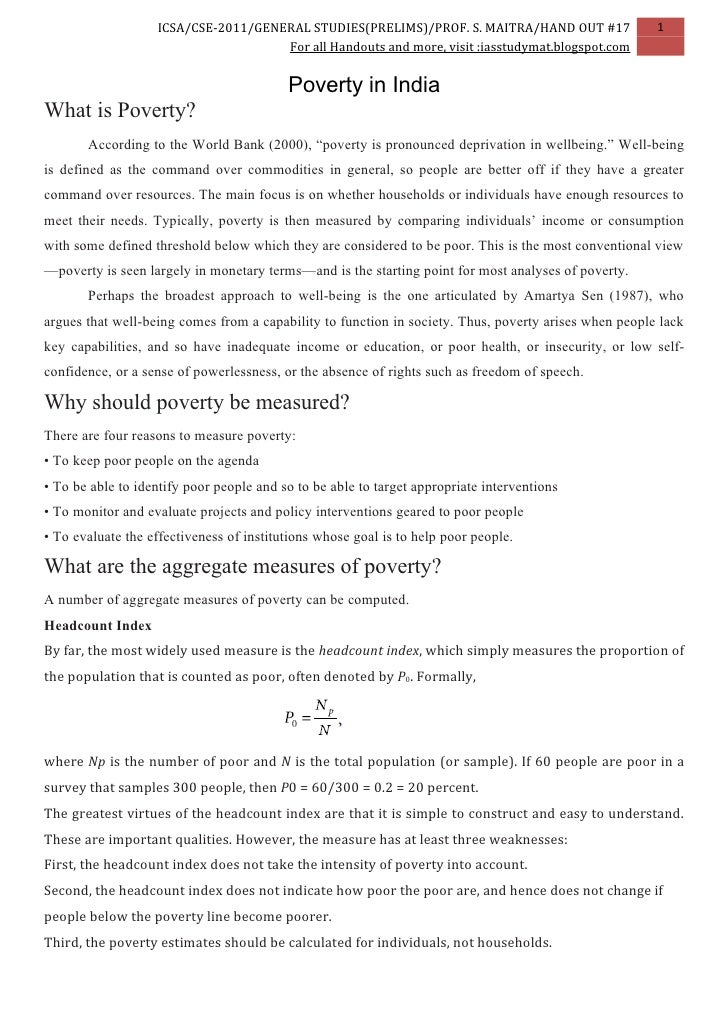 Capture Leads Share      Twitter     Facebook     email  Embed 2011 Civil Services Exam GS Indian Economics Handout 17: Poverty in India