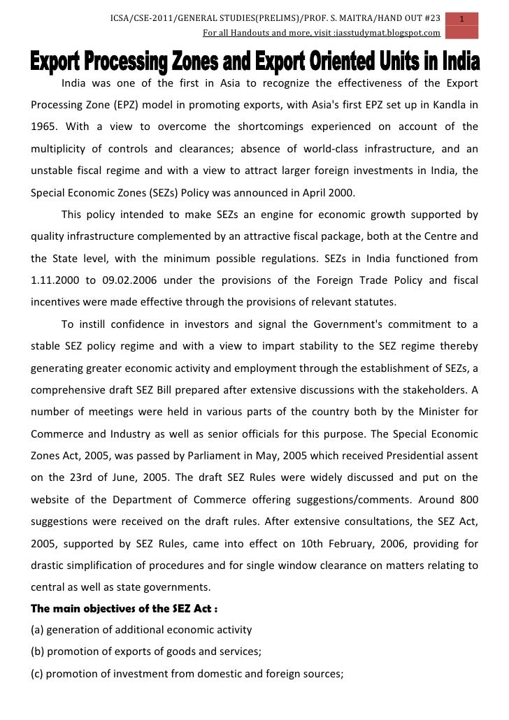 Civil Services GS Indian Economics Handout 23: EPZs and EOUs in India