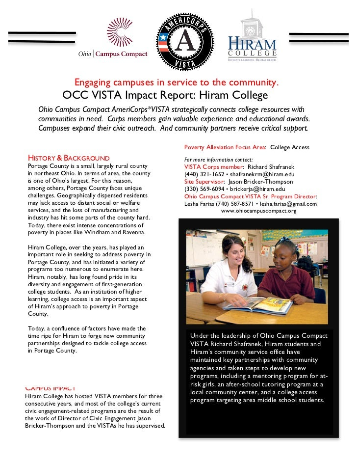 Engaging campuses in service to the community.              OCC VISTA Impact Report: Hiram College                        ...