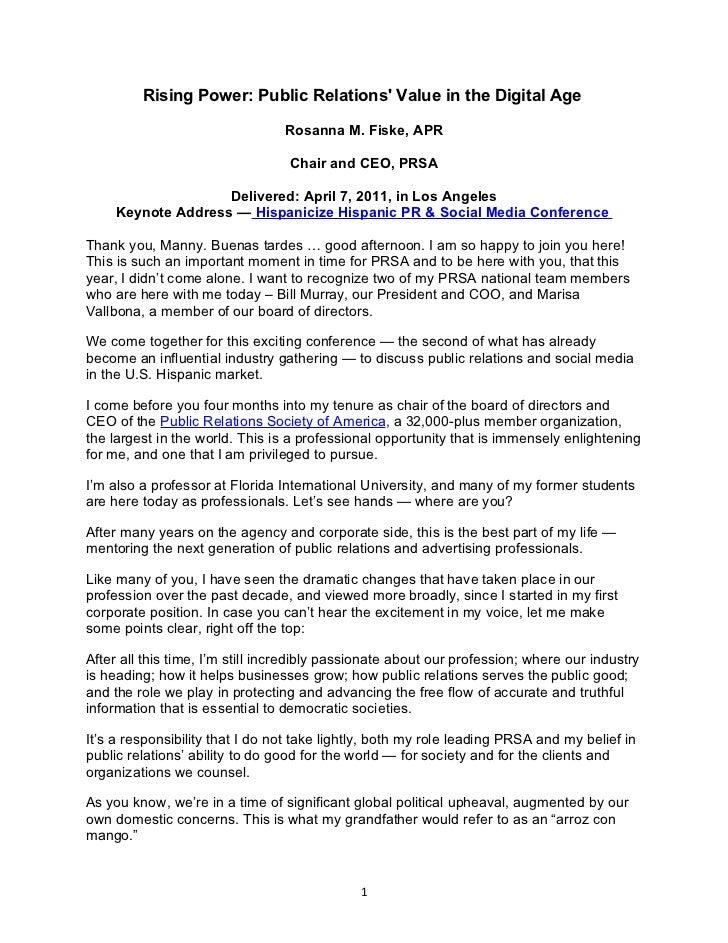 Rising Power: Public Relations Value in the Digital Age                                 Rosanna M. Fiske, APR             ...