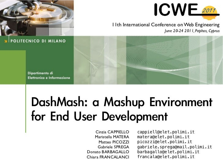 11th International Conference on Web Engineering                                   June 20-24 2011, Paphos, Cyprus    Cinz...