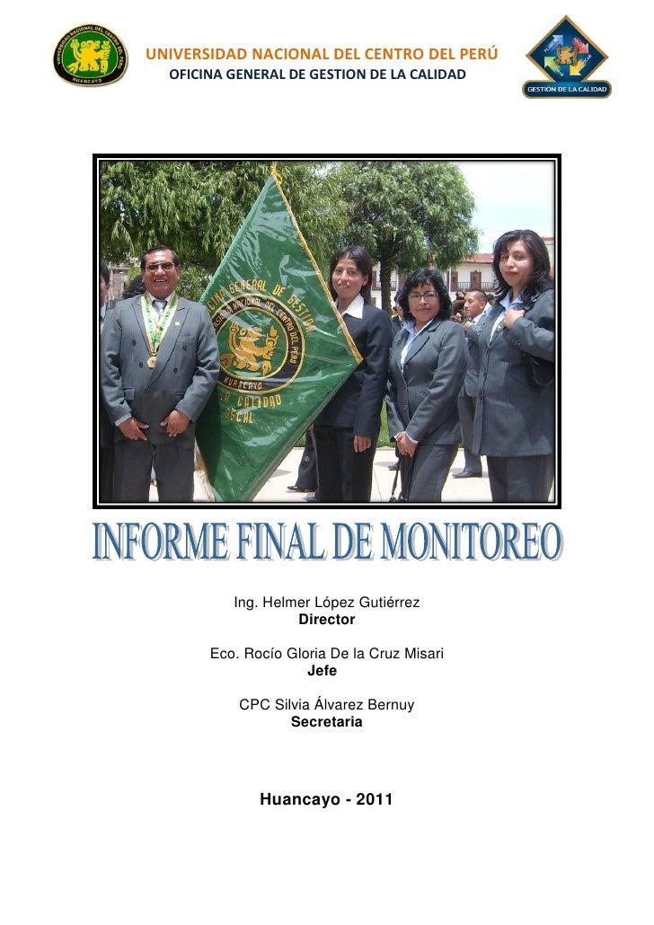 UNIVERSIDAD NACIONAL DEL CENTRO DEL PERÚ    1UNIVERSIDAD NACIONAL DEL CENTRO DEL PERÚ  OFICINA GENERAL DE GESTION DE LA CA...
