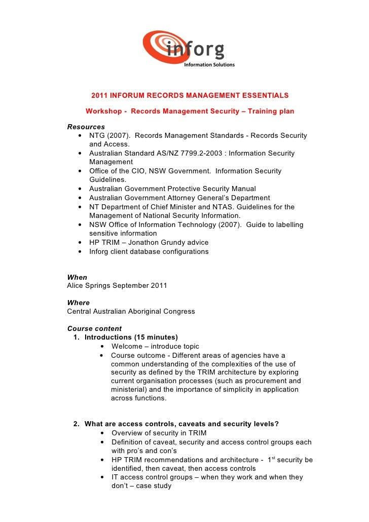 2011 inforum records management essentials   security workshop agenda