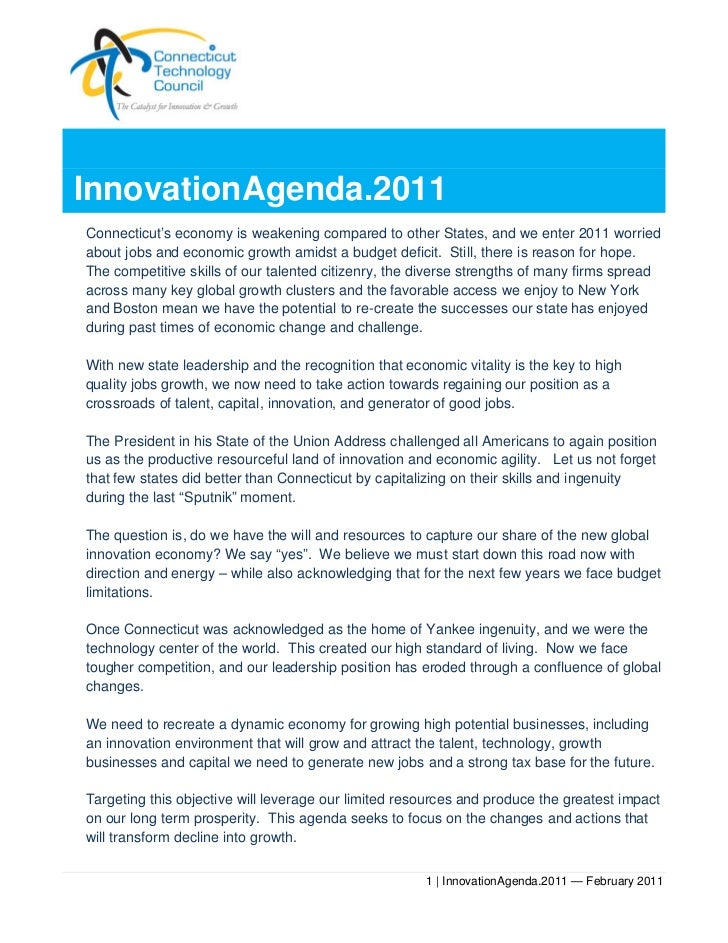 InnovationAgenda.2011Connecticut's economy is weakening compared to other States, and we enter 2011 worriedabout jobs and ...
