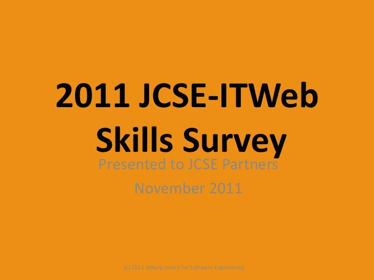 2011 jcse it web skills survey - partner pres