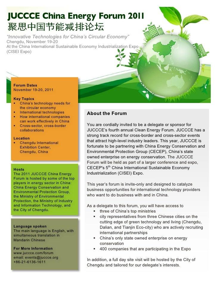 """Innovative Technologies for China's Circular Economy""Chengdu, November 19-20At the China International Sustainable Econom..."