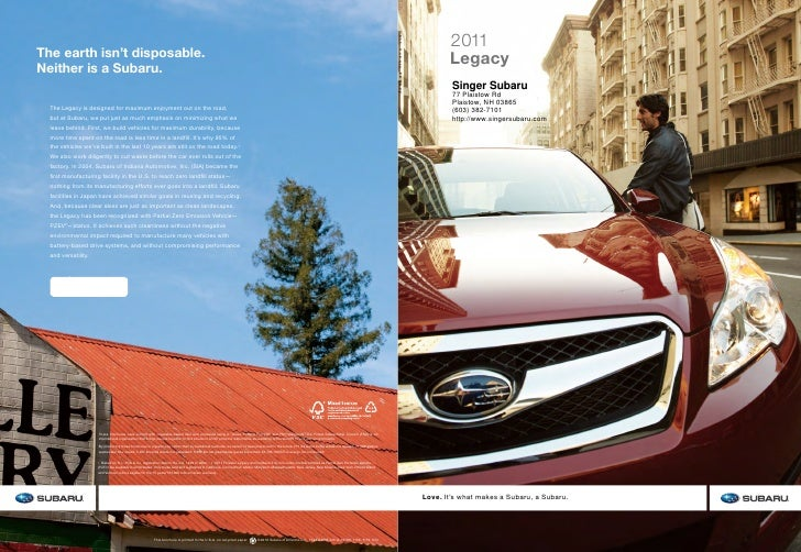 2011       Legacy        Singer Subaru        77 Plaistow Rd        Plaistow, NH 03865        (603) 382-7101        http:/...