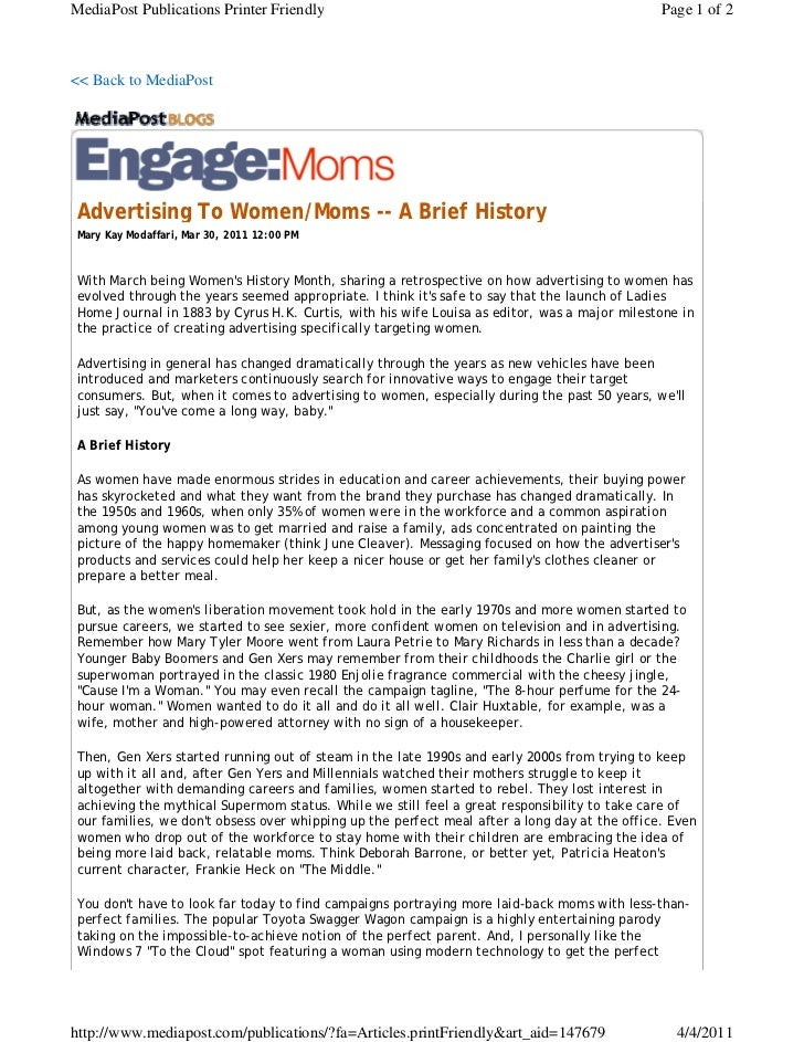 2011 march mary kay media post article advertising to women_moms
