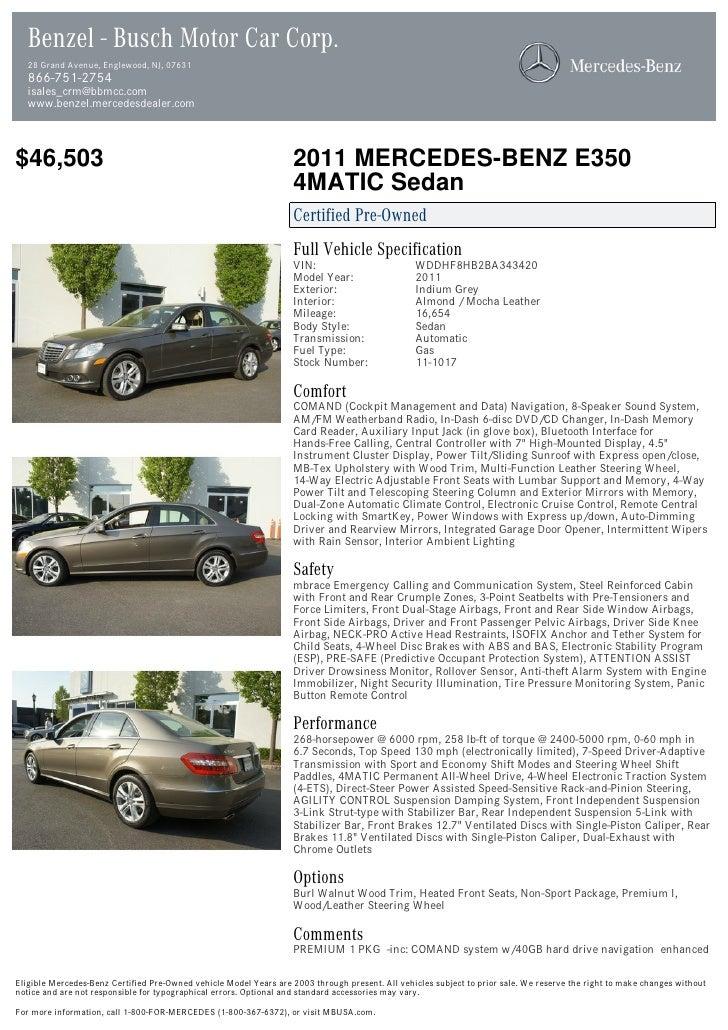 Benzel - Busch Motor Car Corp.  28 Grand Avenue, Englewood, NJ, 07631  866-751-2754  isales_crm@bbmcc.com  www.benzel.merc...