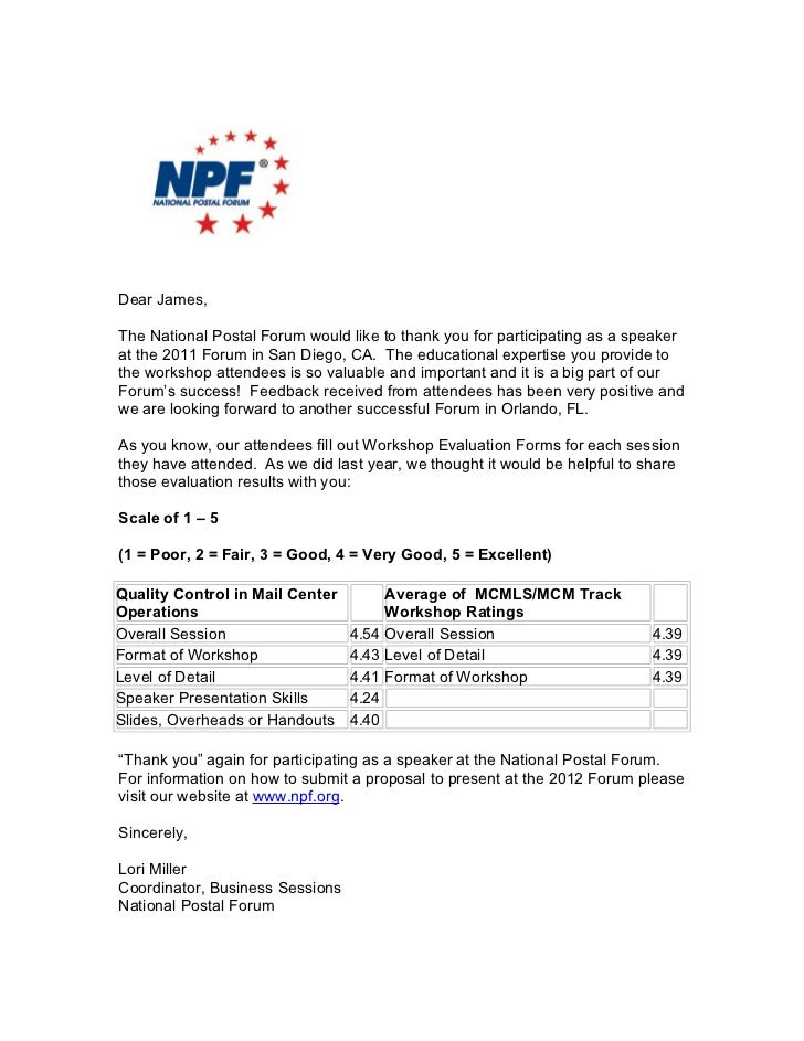 2011 National Postal Forum Workshop Survey Ratings   Quality Control In Mail Operations