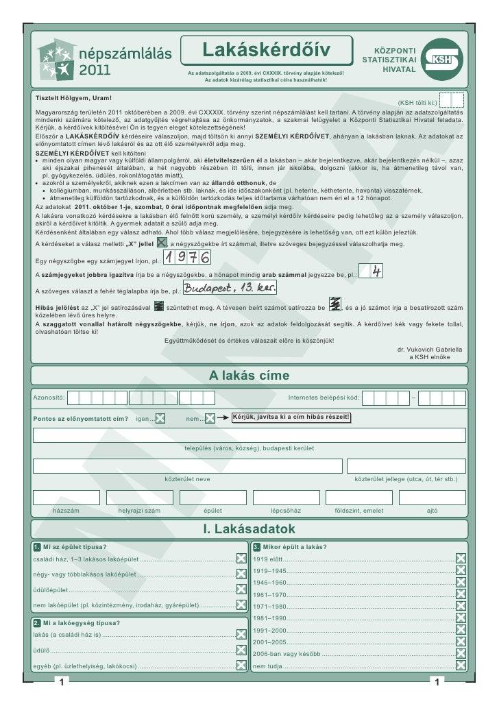 Népszámlálás 2011 Magyarország - lakás kérdőív