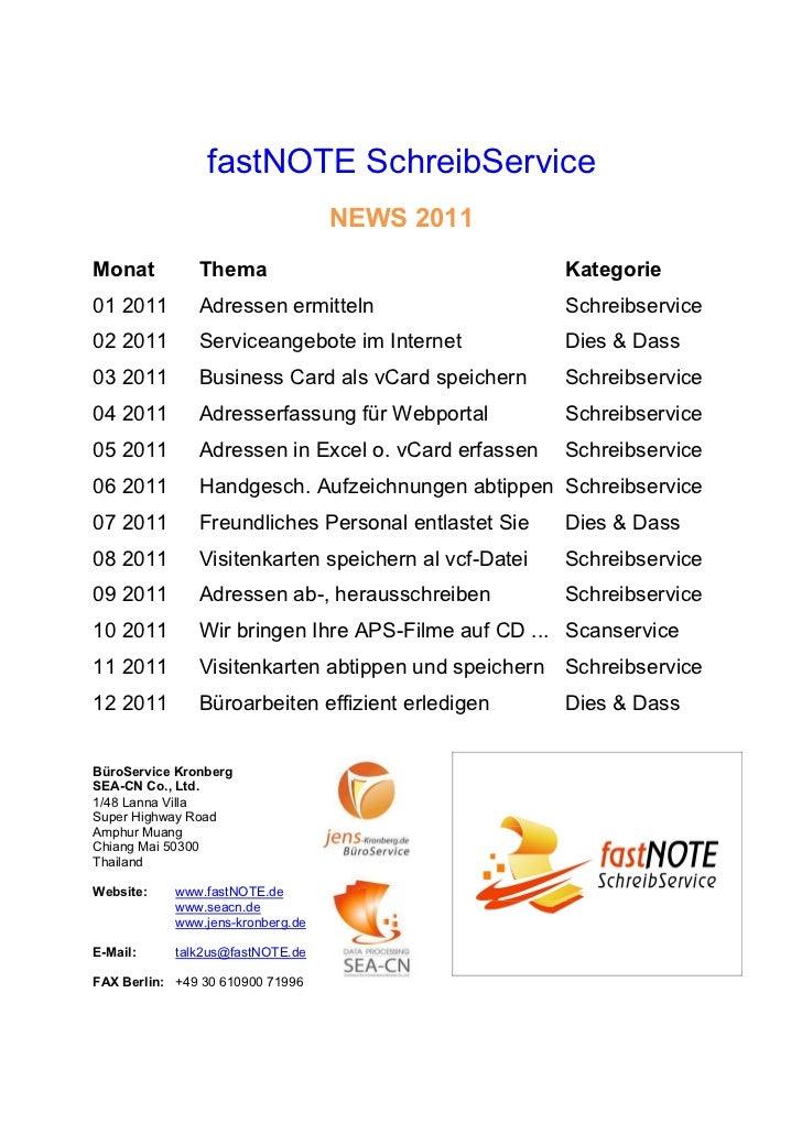 fastNOTE SchreibService                                   NEWS 2011Monat          Thema                                  K...