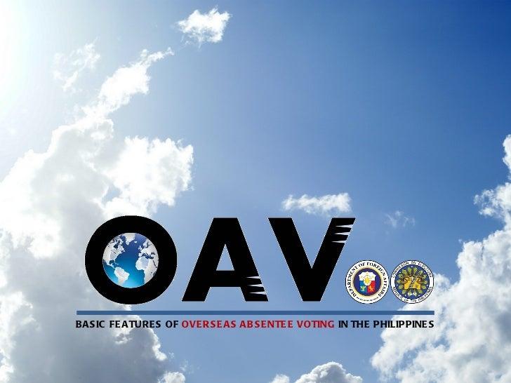 B A S IC FE A TURE S OF OVE RS E A S A B S E NTE E VOTING IN THE PHILIPPINE S