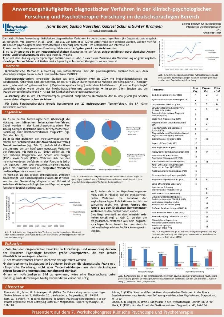 Anwendungshäufigkeiten diagnostischer Verfahren in der klinisch-psychologischen                     Forschung und Psychoth...