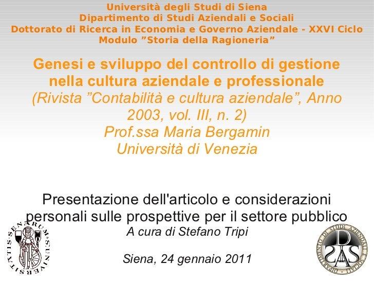Storia della Ragioneria - Genesi e sviluppo del controllo di gestione nella cultura aziendale e professionale