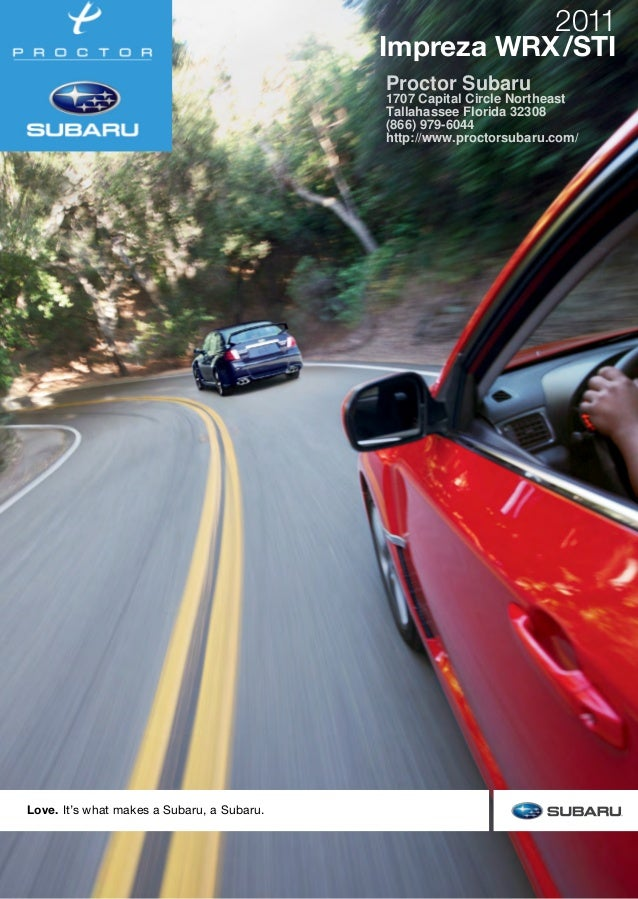 Love. It's what makes a Subaru, a Subaru. This brochure is printed in the U.S.A. on recycled paper. ©2010 Subaru of Americ...
