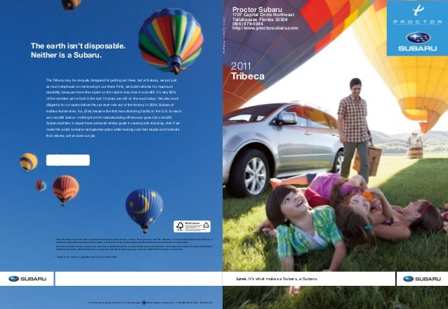 This brochure is printed in the U.S.A. on recycled paper. ©2010 Subaru of America, Inc. 11.TRI.SRB.525 (S-11031, 75K, 8/1...