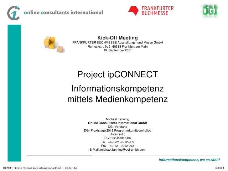 Project ipCONNECT - Informationskompetenz mittels Medienkompetenz