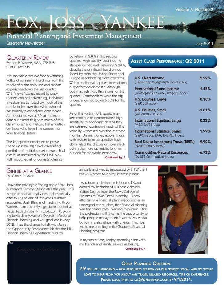 Volume 5, Number 3Quarterly Newsletter                                                                                    ...