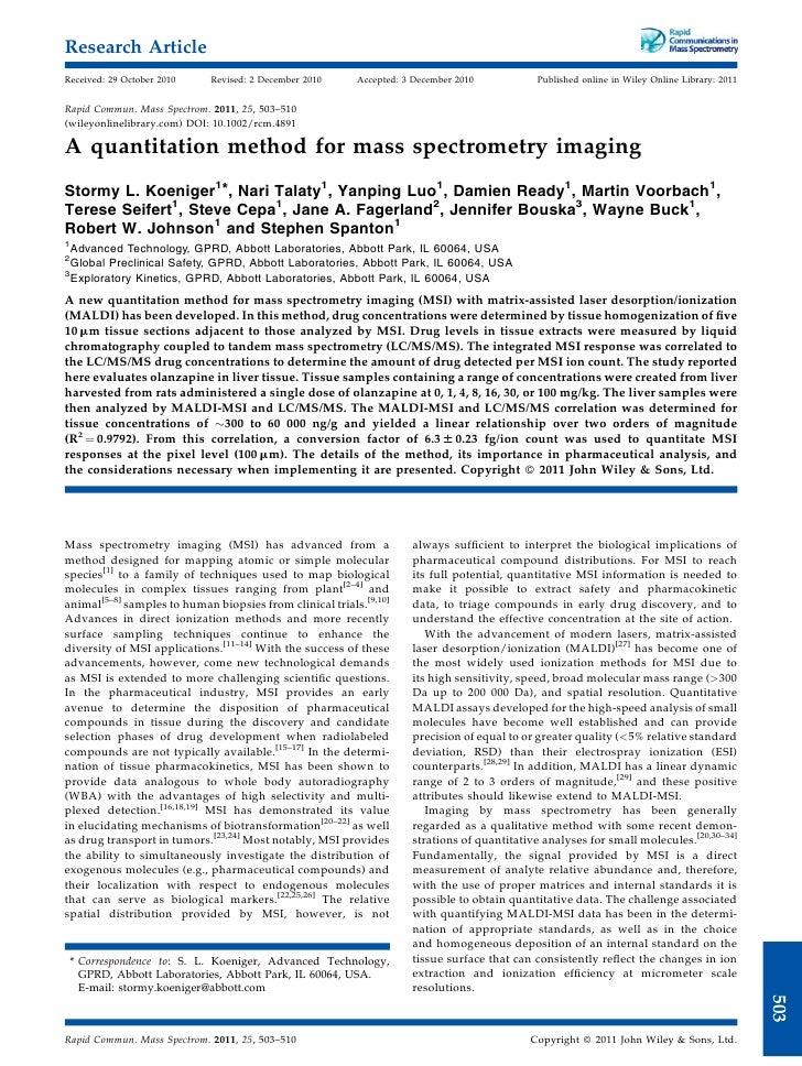 Quantitative mass spec imaging