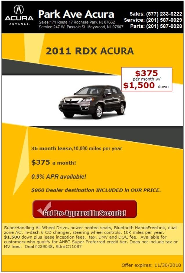 2011 RDX Acura Lease Rochelle Park NJ