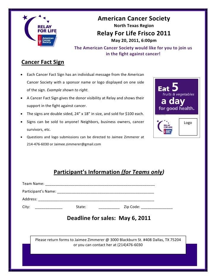 FriscoRFL 2011 Frisco Cancer Fact Sign Sheet