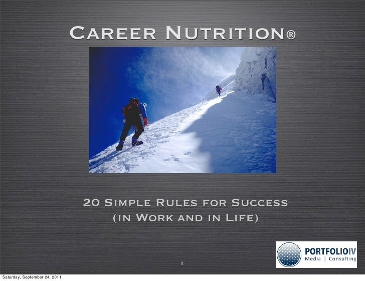 Career Nutrition®                                20 Simple Rules for Success                                    (in Work a...