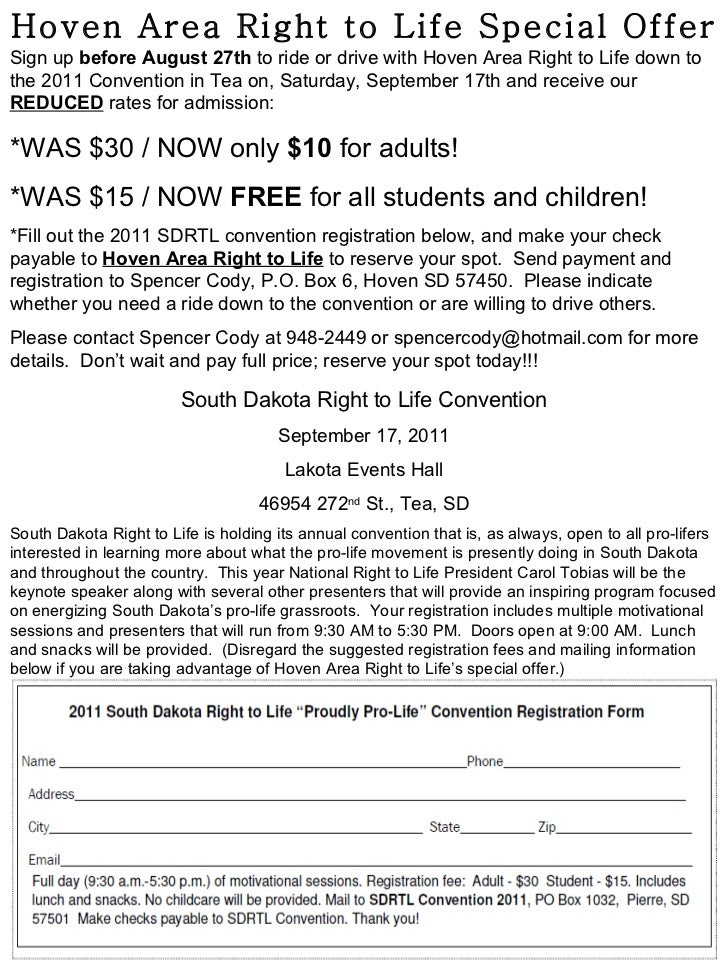 Hoven Area Right to Life Special Offer Sign up  before   August 27th  to ride or drive with Hoven Area Right to Life down ...
