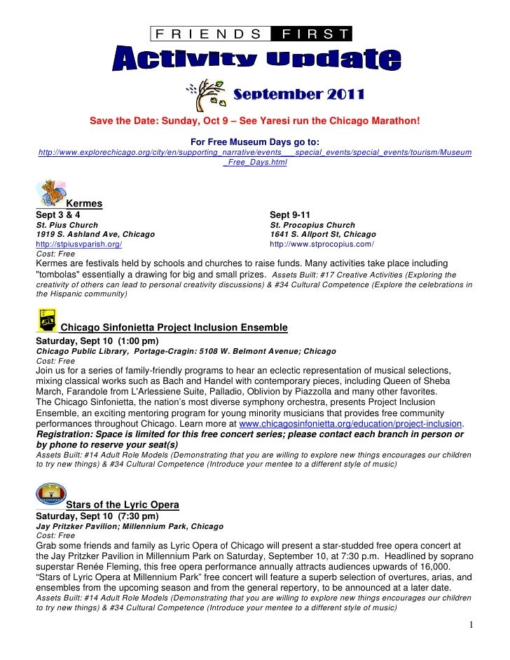 Friends First Sep 2011 Activity Update