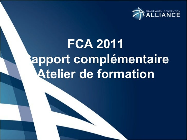FCA 2011 R apport complémentaire Atelier de formation