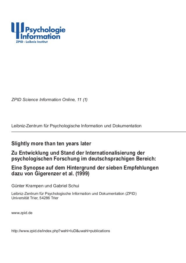 Slightly more than ten years laterZu Entwicklung und Stand der Internationalisierung derpsychologischen Forschung im deuts...