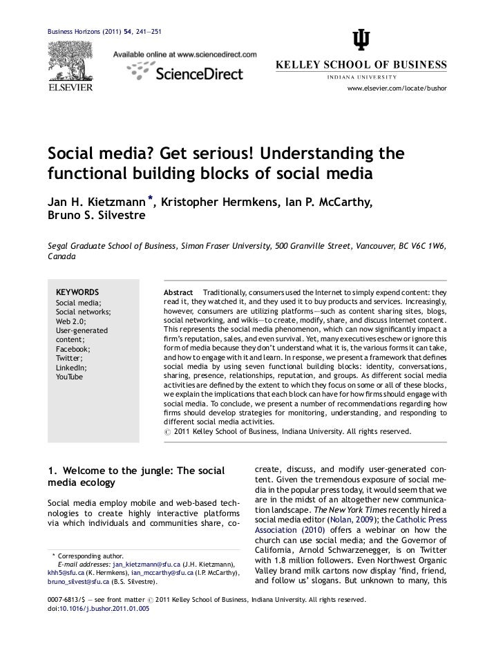 Social media? Get serious... Functional Blocks of Social Media