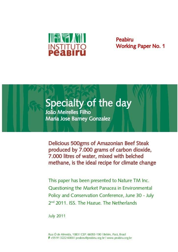 Peabiru                                                    Working Paper No. 1Specialty of the dayJoão Meirelles FilhoMari...