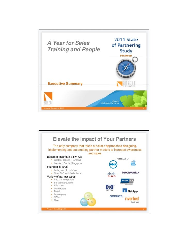 A Year for Sales  Training and People   Executive SummaryAmazon Consulting 2011                                           ...