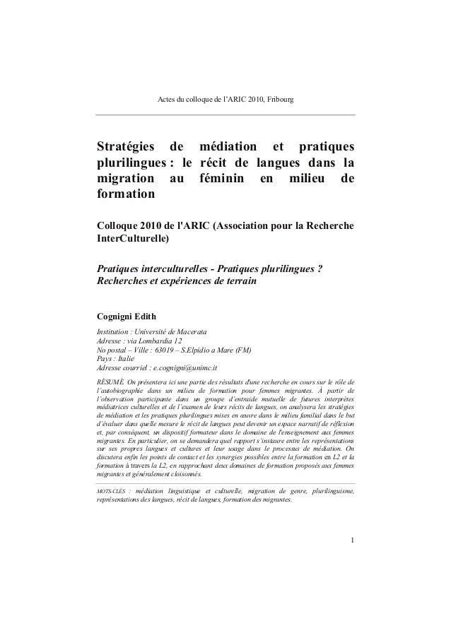 Actes du colloque de l'ARIC 2010, Fribourg 1 Stratégies de médiation et pratiques plurilingues : le récit de langues dans ...