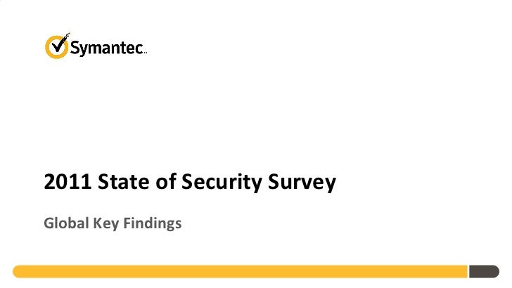 Symantec 2011 State of Security Survey Global Findings