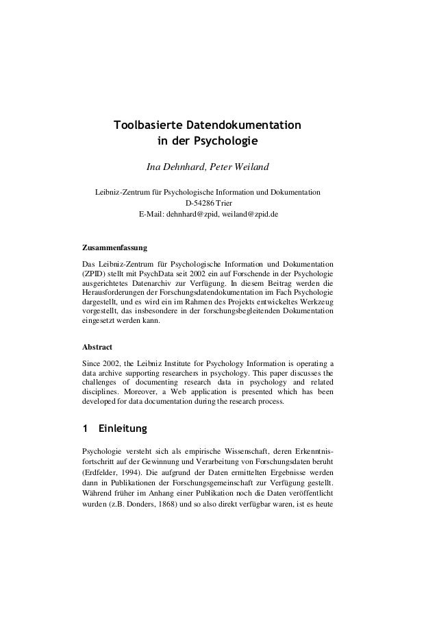 Toolbasierte Datendokumentation                   in der Psychologie                   Ina Dehnhard, Peter Weiland   Leibn...