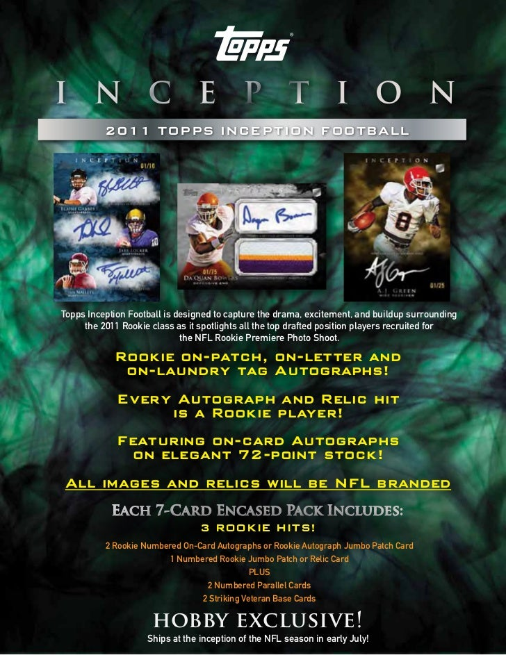 2011 TOPPS INCEPTION FOOTBALLTopps Inception Football is designed to capture the drama, excitement, and buildup surroundin...