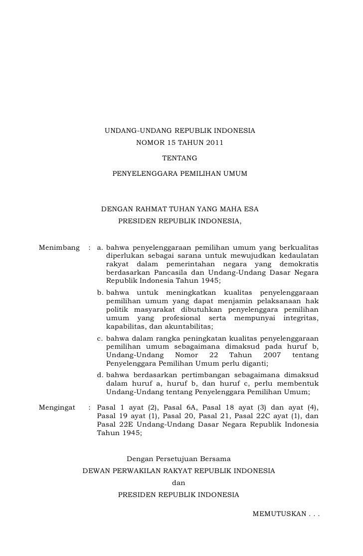 Undang Undang Nomor 15 tahun 2011  tentang Penyelenggara Pemilu