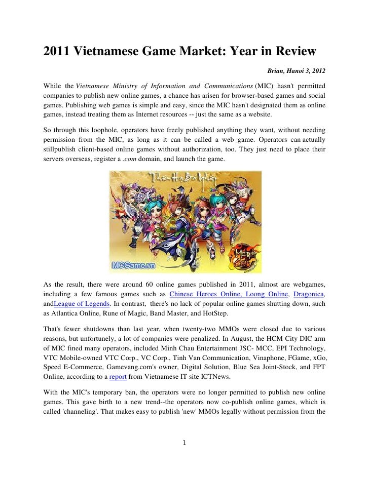 2011 Vietnamese Game Market: Year in Review                                                                            Bri...