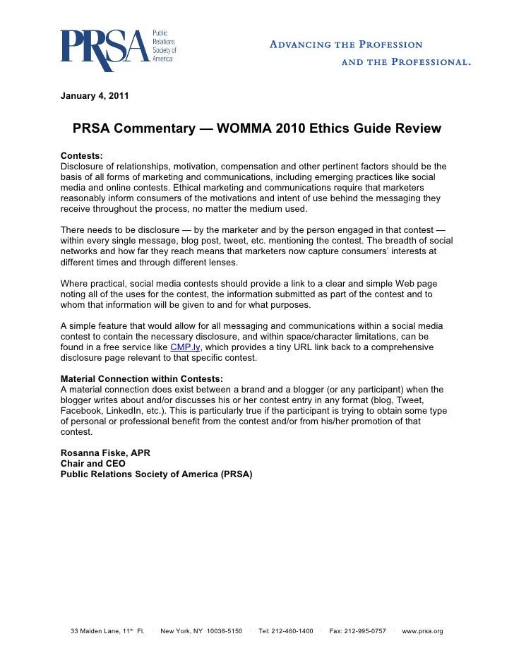 January 4, 2011   PRSA Commentary — WOMMA 2010 Ethics Guide ReviewContests:Disclosure of relationships, motivation, compen...