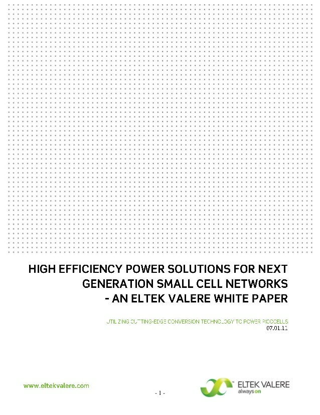 High Effiency Power Solutions for Next Generation Small Cell Networks - An Eltek White paper