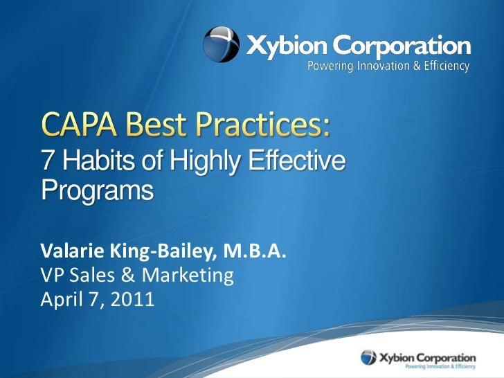 Xybion Webinar - 7 Habits of Highly Effective CAPA Programs