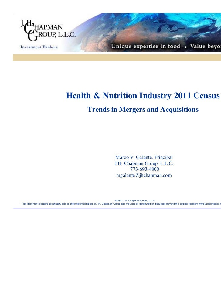 Health & Nutrition Industry Census 2011 - Trends in Mergers & Acquisitions